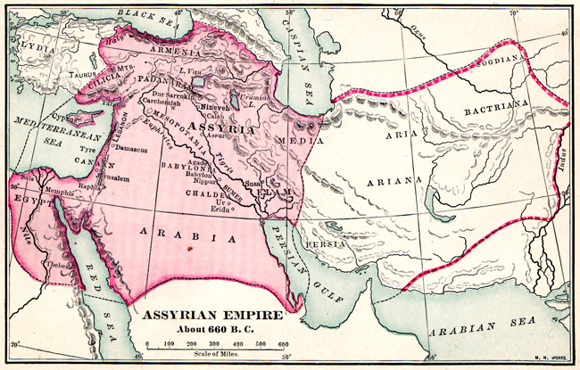 Assyrian Empire - Map of Assyrian Empire