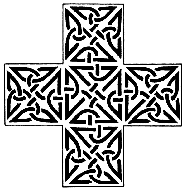 Celtic Knot Designs - Triangular Knotwork from Dunfallandy, Perthsire