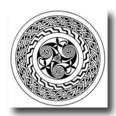 Celtic Pattern - Spiral Ornament with Key-Pattern Border from the Book of Kells