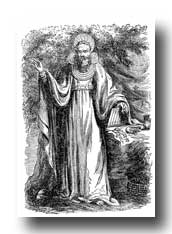 Celts - Arch Druid in Full Judicial Costume and Wearing the Breast-Place of Judgment, Pronouncing Sentence
