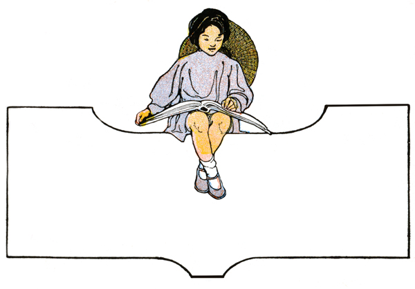 Child Clipart - Image 2 :: A little girl reading above a blank frame