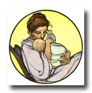 Child Clipart - 10 :: A mother rocking her baby