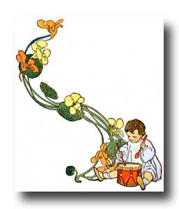 Child Clipart - Image 3 :: A child playing the drums with a flower border