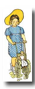 Child Clipart - Image 4 :: A girl in a blue dress pushing a baby buggy