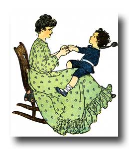 Child Clipart - 8 :: A woman and a boy in a rocking chair