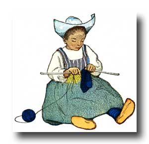 Child Clipart - 9 :: A little Dutch girl knitting