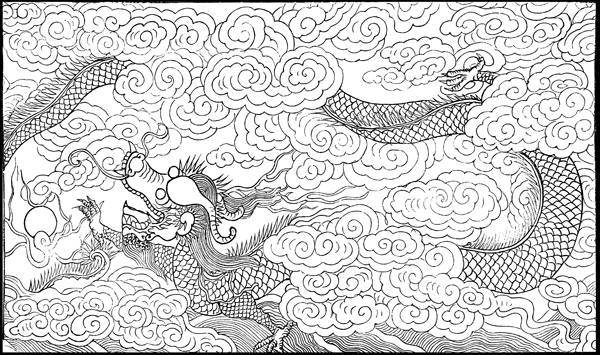 Dragon Sketches - Mural Tablet, Temple of Longevity, Canton