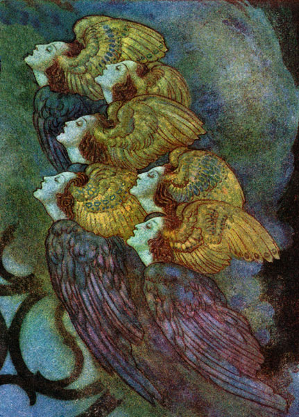 Edmund Dulac :: Close-up of Angels from The Bells