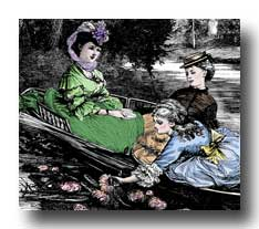 Free Victorian Clipart ::<br> Gathering Waterlilies - 2