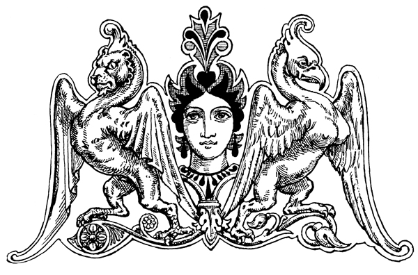 Mythical Animals - Female Head Flanked with Monsters: Lion with Bird's Claws and Bird with Animal Hind Legs
