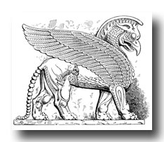 Mythical Beasts - Colossal Eagle-Headed and Winged Lion from Assyria
