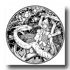 Mythical Dragon Drawings - Youth Battling a Dragon