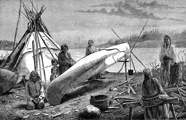 Native American Artifacts - Chippewas Making Canoes
