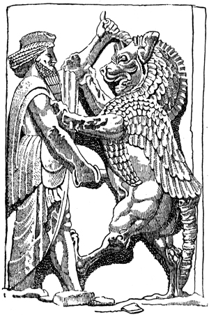 Persian History - King in Combat with a Monster Symbolizing Ahriman, and Evil Spirit