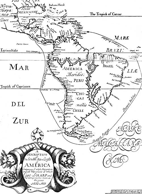 Pirate Treasure Map - South Sea and Coasts of America 1680-1683