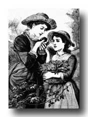 Victorian Clipart :: Two Girls with a Bird