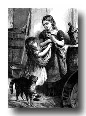 Victorian Clipart :: Two Girls with Cats