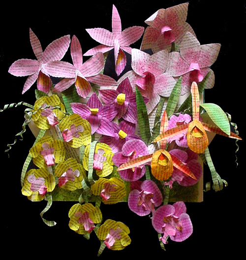 Handmade Paper Sculpture ~ Dream of Orchids