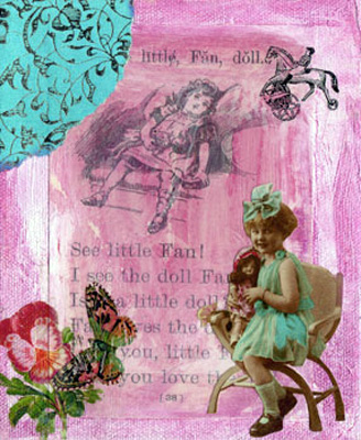 Vintage Collage Art ~ Little Fan 3