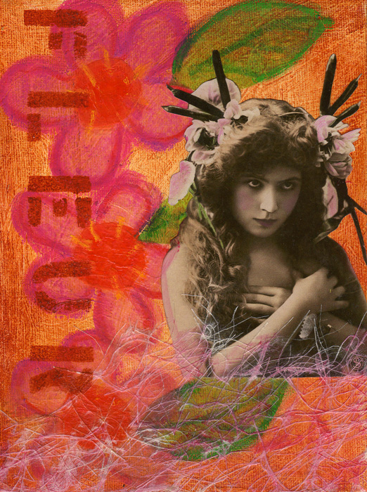 Mixed Media Canvas Art ~ Fleur ~ Karen's Whimsy
