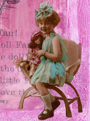 Vintage Collage Art ~ Little Fan 1