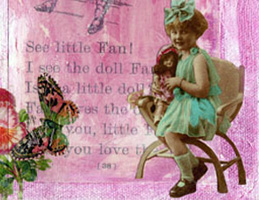 Vintage Collage Art ~ Little Fan