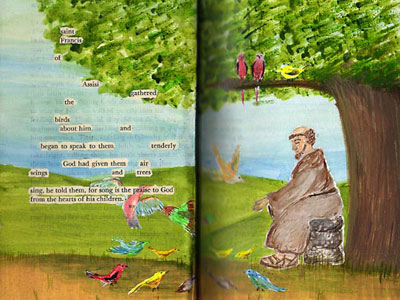 Altered Book Pages - St Francis Of Asissi